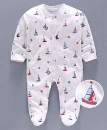 Cucumber Full Sleeves Footed Sleep Suit Boat Print - White