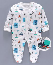 Cucumber Full Sleeves Footed Sleep Suit Car Print - White Blue