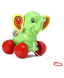 Lovely Pull Along Elephant Toy - Green