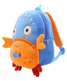 Kiddiewink Animal Shaped Plush Nursery Bag Blue Orange - 12 Inches