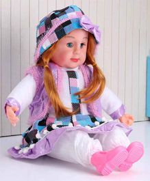 ToyMark Doll with Cap Purple - Height 34.5 cm