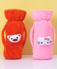 Zoe Twin Handle Velvet Bottle Cover Pack of 2 Orange Pink - Fits Up to 240 ml Bottle