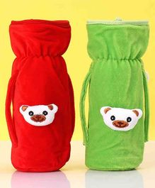 Zoe Twin Handle Velvet Bottle Cover Pack of 2 Red Green - Fits Up to 240 ml Bottle
