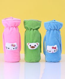 Zoe Twin Handle Velvet Bottle Cover Pack of 3 Blue Pink Green - Fits Up to 240 ml Bottle