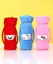 Zoe Twin Handle Velvet Bottle Cover Pack of 3 Blue Pink Red - Fits Up to 240 ml Bottle