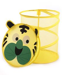 Babyhug Collapsible Laundry Bag With Lid Tiger Shaped - Yellow