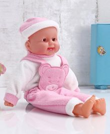 ToyMark Baby Doll with Bear Patch Pink - Height 41.5 cm