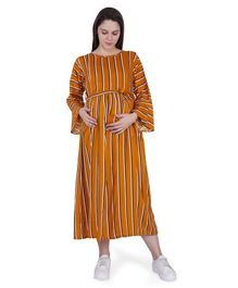 MomToBe Full Sleeves Striped Maternity Dress - Brown
