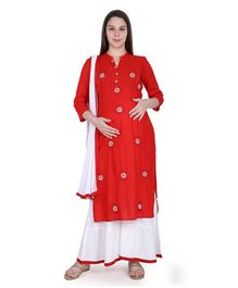 MomToBe Three Fourth Sleeves Flower Embroidery Detailing Kurta With Palazzo & Dupatta - Red & White