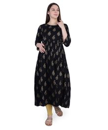 MomToBe Three Fourth Sleeves Block Print Detailing Maternity Kurta - Black