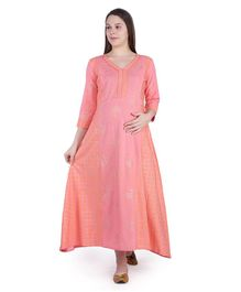 MomToBe Three Fourth Sleeves Printed Maternity Dress - Peach