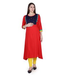 MomToBe Three Fourth Sleeves Colour Bock Pattern Maternity Kurta - Red