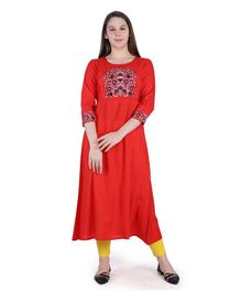 MomToBe Three Fourth Sleeves Flower Embroidery Detailing Maternity Kurta - Red