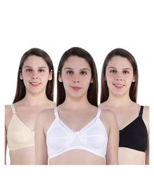 MomToBe Pack Of 3 Solid Colour Full Cup Maternity Bra - White Beige Black