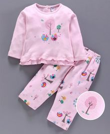 Tango Full Sleeves Tee & Lounge Pant Bird Print - Pink