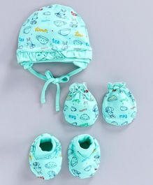 Cucumber Printed Cap & Mittens with Booties Sea Green - Diameter 10.5 cm