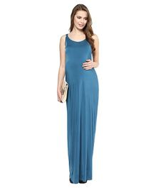 Mamacouture Solid Sleeveless Long Dress - Teal