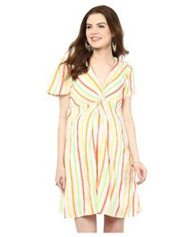 Mamacouture Half Sleeves Stripes Front Knot Short Dress - Yellow