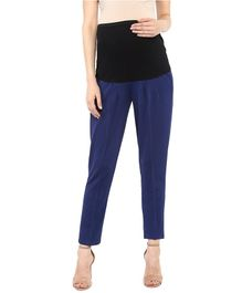 Mamacouture Solid Full Length Slim Fit Maternity Pants - Navy