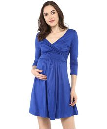 Mamacouture Three Fourth Sleeves Cross Panel Maternity Dress - Royal Blue