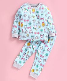 Ollypop Full Sleeves Night Suit Unicorn Print - Green