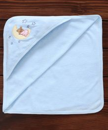 Pink Rabbit Hooded Towel Bear Embroidery - Blue