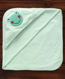 Pink Rabbit Hooded Towel Frog Embroidery - Sea Green
