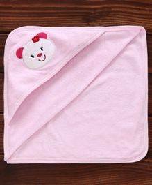 Pink Rabbit Hooded Towel Bear Embroidery - Light