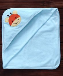 Pink Rabbit Hooded Towel Giraffe Embroidery - Aqua Blue