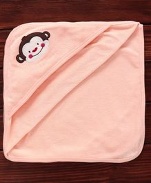 Pink Rabbit Hooded Towel Monkey Embroidery -Peach