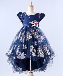 Mark & Mia Short Sleeves Party Wear Frock Floral Print - Navy Blue