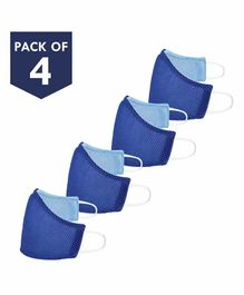 Smily Kiddos Reusable Face Mask Royal Blue - Pack of 4
