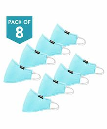 Smilykiddos Reusable & Washable Face Mask Blue - Pack of 8