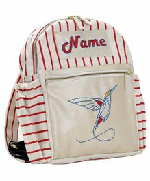 Mi Dulce An'ya Stripe School Bag Bird Embroidery White Red - 16 Inches