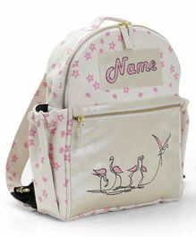 Mi Dulce An'ya Printed School Bag Flamingo Embroidery White Pink - 16 Inches