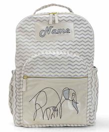 Mi Dulce An'ya Backpack Elephant Embroidered Grey - 12.2 inches