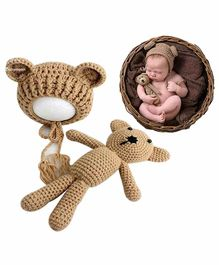 Babymoon Cap with Teddy Photo Props - Brown