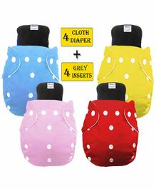 Babymoon Free Size Washable & Reusable 4 Cloth Diapers With 4 Grey Insert  Pack of 8 - Multicolor