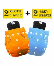 Babymoon Washable & Reusable Cloth Diaper Pocket With Bamboo Charcoal Insert Pack of 4 - Orange Blue
