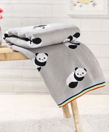 Babyhug Premium Knitted Cotton All Season Blanket Panda Print - Grey