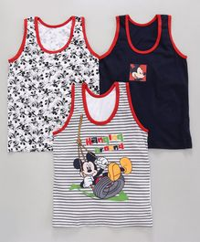 Bodycare Sleeveless Vests Mickey Mouse Print Pack of 3 - Black, Red & White