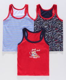 Bodycare Sleeveless Vests Pack of 3 - Blue, Black & Red