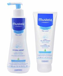 Mustela 2 in 1 Cleansing Gel with Hydra Bebe Body Lotion - 200 ml & 300 ml