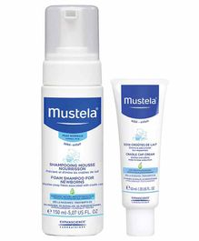 Mustela Foam Shampoo and Cradle Cap Cream Combo of 2 - 150 ml, 40 ml