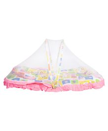 Mee Mee Baby Mattress Set With Mosquito Net And Pillow Multi Print - Pink