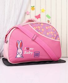 Mee Mee Diaper Bag With Changing Mat Bunny Print - Pink