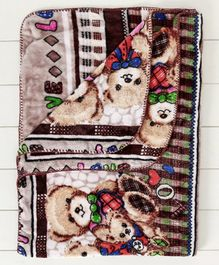 Mee Mee Baby Blanket With Teddy Multi Print - Brown white