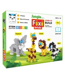 Play Panda Fixi Bricks Jungle Animals Building Set of 4 Multicolor - 240 Pieces