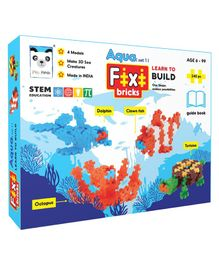 Play Panda Fixi Bricks Sea Animals Building Set of 4 Multicolor - 240 Pieces