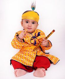 KID1 Flower Print Half Sleeves Kurta With Dhoti Basuri & Mukut  - Yellow